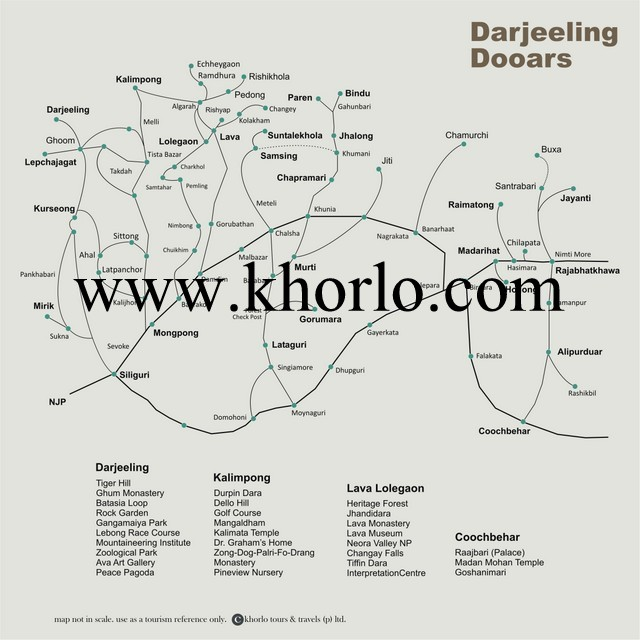 This is a Tourist Map of Darjeeling Adjoining Hill Areas & Dooars Belt